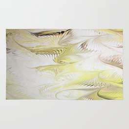 Golden Yellow Feather Water Marbling Rug