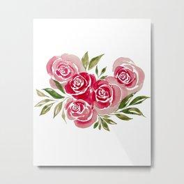 Rose Loose Floral Watercolor Painting Metal Print