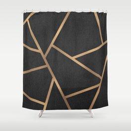 Dark Grey and Gold Textured Fragments - Geometric Design Shower Curtain