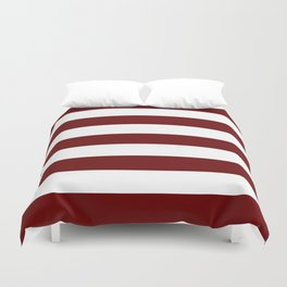 Blood red - solid color - white stripes pattern Duvet Cover