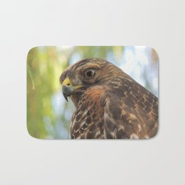 Young Red-Shouldered Hawk in a Desert Willow Bath Mat