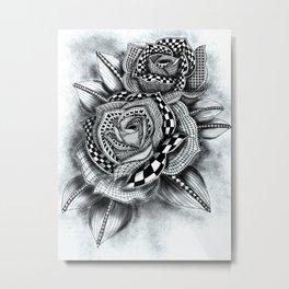 Tattoo Rose Greyscale Metal Print