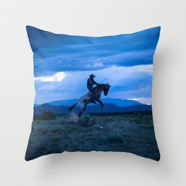 Santa Fe Cowboy Being Bucked Off Throw Pillow