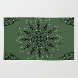 Central Mandala Jade Green Rug