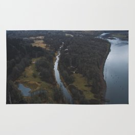 Snow-capped Columbia River Gorge Rug