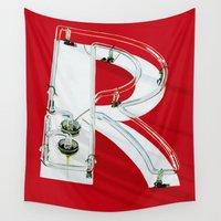 """ed sheeran Wall Tapestries featuring """"R""""ed Neon Sign by Frances Lesatz"""