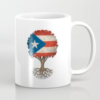 puerto rico Mugs featuring Vintage Tree of Life with Flag of Puerto Rico by Jeff Bartels