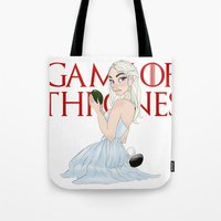 mother of dragons Tote Bags featuring Mother Of The Dragons (no background) by Guilherme Mauad