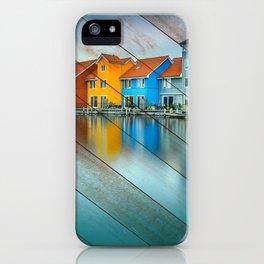 Faux Wood Blue Morning at Waters Edge Groningen Netherlands Europe Coastal Landscape Photograph iPhone Case