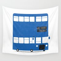 chelsea Wall Tapestries featuring Chelsea bus by Alberto Faria