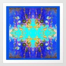 BLUE GARDEN GOLD-PINK  FLOWERS Art Print