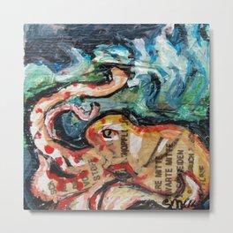 Octopus in the waves Metal Print