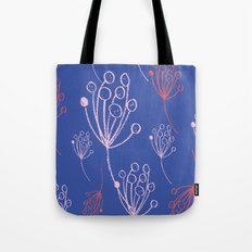 floral blue chalk contemporary Tote Bag