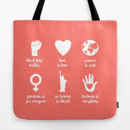 In This House We Believe - Living Coral Tote Bag