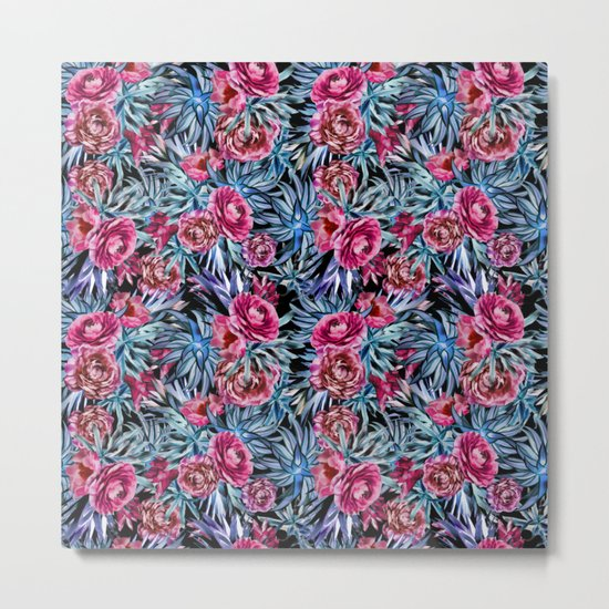 The floral pattern . pink and blue Metal Print