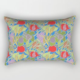Seven Species Botanical Fruit and Grain with Blue Background Rectangular Pillow