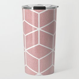 Blush Pink and White - Geometric Textured Cube Design Travel Mug