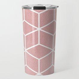 Blush Pink and White - Geometric Textured Cube Design Travel Mug