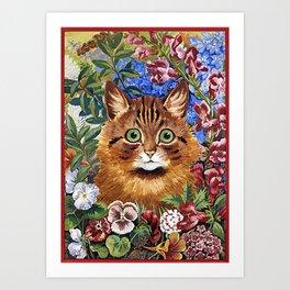 Louis Wain's Cats - Cat In the Garden Art Print