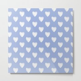 White love hearts on light blue Metal Print
