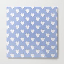 White love hearts on light blue Metal Print