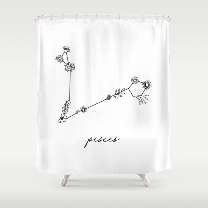 Pisces Floral Zodiac Constellation Shower Curtain