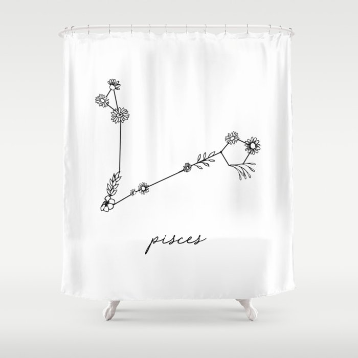 Pisces Floral Zodiac Constellation Shower Curtain