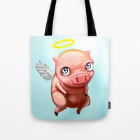 pigs Tote Bags featuring When Pigs.... by Stephen Yan