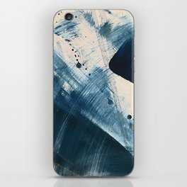 Against the Current [2]: A bold, minimal abstract acrylic piece in blue, white and gold iPhone Skin