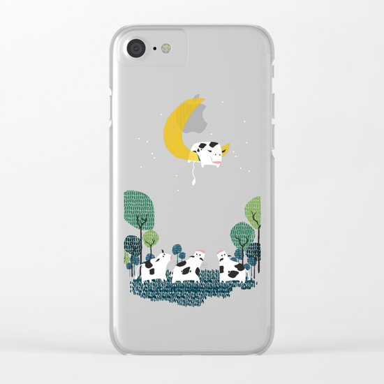 A cow jump over the moon Clear iPhone Case