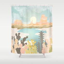 Retro Desert Oasis Shower Curtain