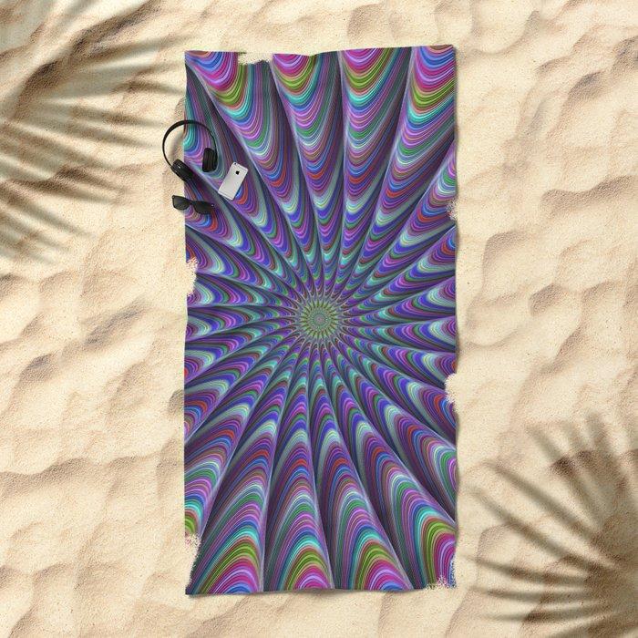 Twisted fractal sun Beach Towel