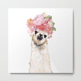 Llama with Beautiful Flowers Crown Metal Print