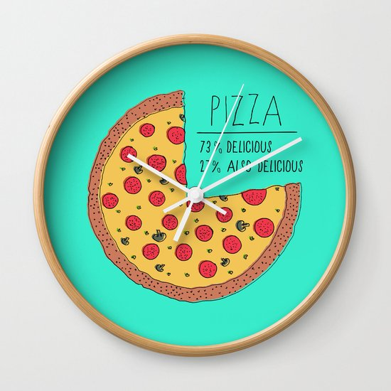 Pizza Pie Chart Wall Clock by Zeke Tucker