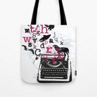 typewriter Tote Bags featuring typewriter by Natasha79