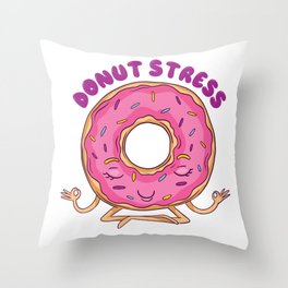 Donut Stress Yoga Throw Pillow