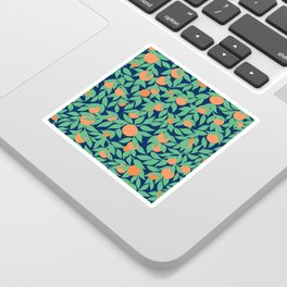Oranges and Leaves Pattern - Navy Blue Sticker