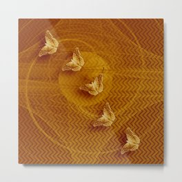 Butterflies, fractal and chevron design in copper Metal Print