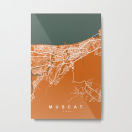 Muscat City Map - Oman | Orange | More Colors, Review My Collections Metal Print