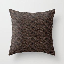 Brown Haka Cable Knit Throw Pillow