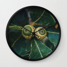 Cute Little Baby Green Acorns Wall Clock