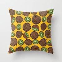 kiwi Throw Pillows featuring Kiwi by Nemki