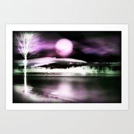 Moon night on the lake 2 Art Print