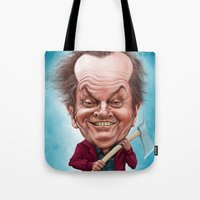 jack nicholson Tote Bags featuring Jack Nicholson caricature by Jordygraph