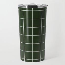 Small Grid Pattern - Deep Green Travel Mug