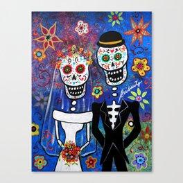 Mexican Folk Art Wedding Painting Canvas Print
