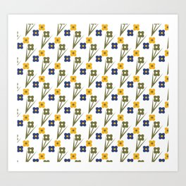 Garden Bold Floral Green Blue and Yellow Tiny Flower Pattern Art Print