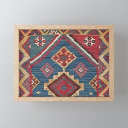 Vintage Woven Kilim // 19th Century Colorful Royal Blue Yellow Authentic Classic Ornate Accent Patte Framed Mini Art Print