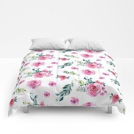 Blush pink green watercolor modern floral pattern Comforters