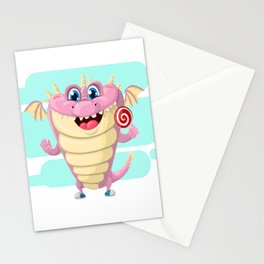 Dragon with Lollypop Candy Stationery Cards